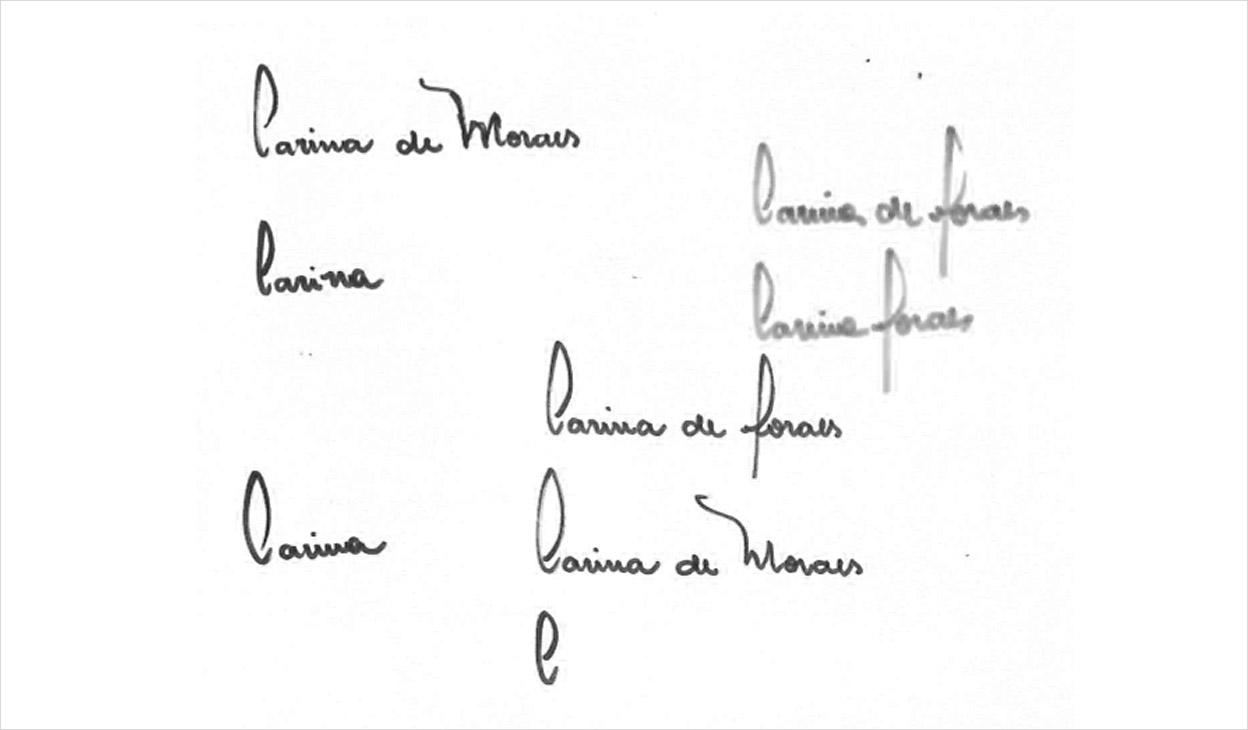 Esboço da assinatura - Carina de Moraes
