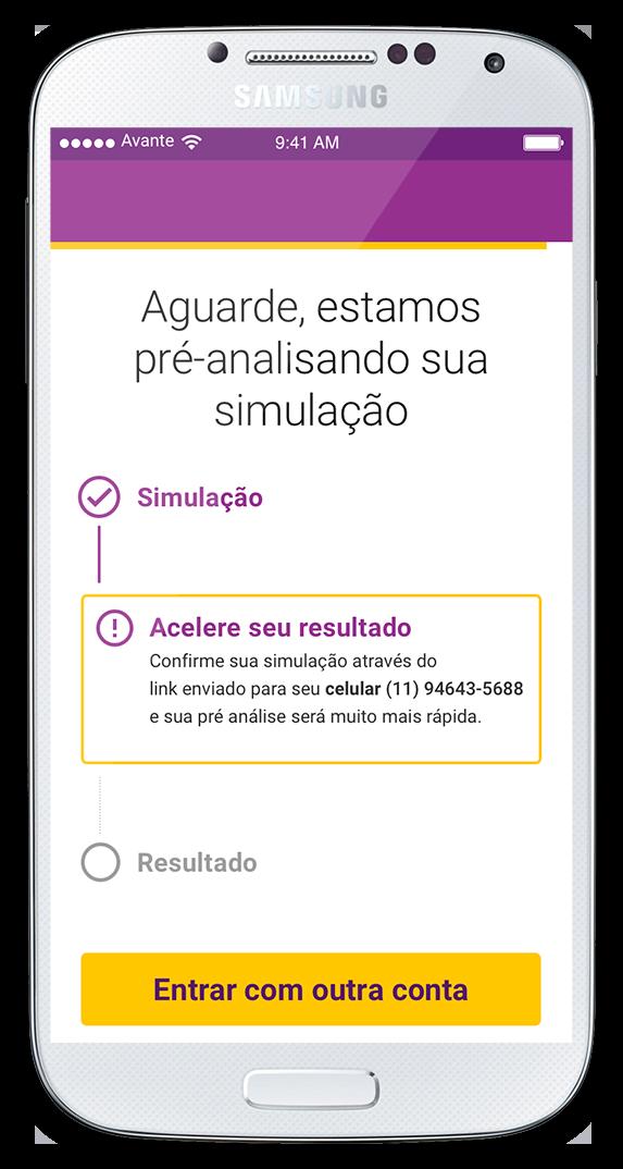 Tela de confirmação - Simulador Microcrédito Avante