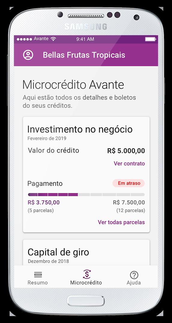 Interface Microcrédito Avante - Em Atraso